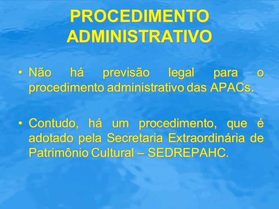 PROCEDIMENTO ADMINISTRATIVO Iniciativa: o procedimento pode ser iniciado ex officio pelo Prefeito, pela própria SEDREPAHC ou pelos próprios moradores interessados (ex.: APACs de Botafogo e do Catete/Glória).