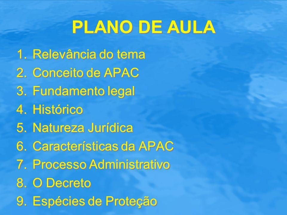 PLANO DE AULA 1.Relevância do tema 2.Conceito de APAC 3.Fundamento legal 4.Histórico 5.Natureza Jurídica 6.Características da APAC 7.Processo Administ