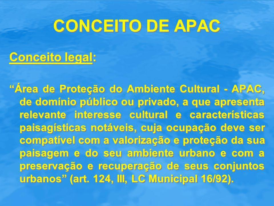 """CONCEITO DE APAC Conceito legal: """"Área de Proteção do Ambiente Cultural - APAC, de domínio público ou privado, a que apresenta relevante interesse cul"""