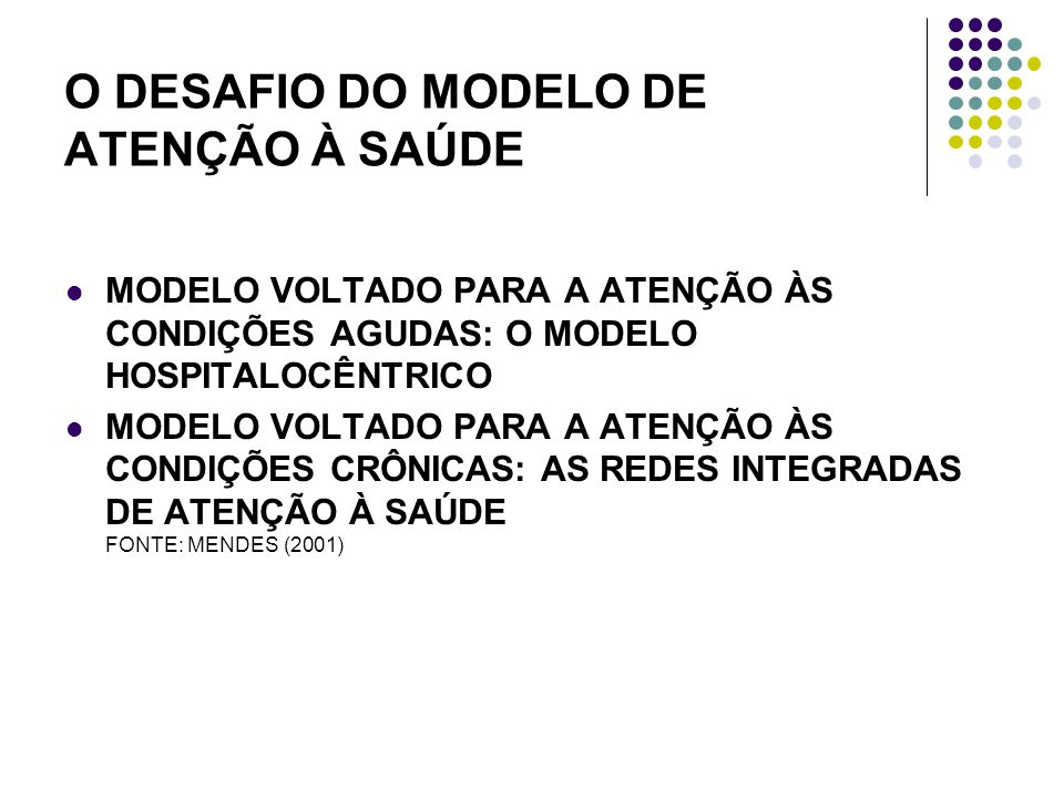 O DESAFIO DO MODELO DE ATENÇÃO À SAÚDE MODELO VOLTADO PARA A ATENÇÃO ÀS CONDIÇÕES AGUDAS: O MODELO HOSPITALOCÊNTRICO MODELO VOLTADO PARA A ATENÇÃO ÀS CONDIÇÕES CRÔNICAS: AS REDES INTEGRADAS DE ATENÇÃO À SAÚDE FONTE: MENDES (2001)