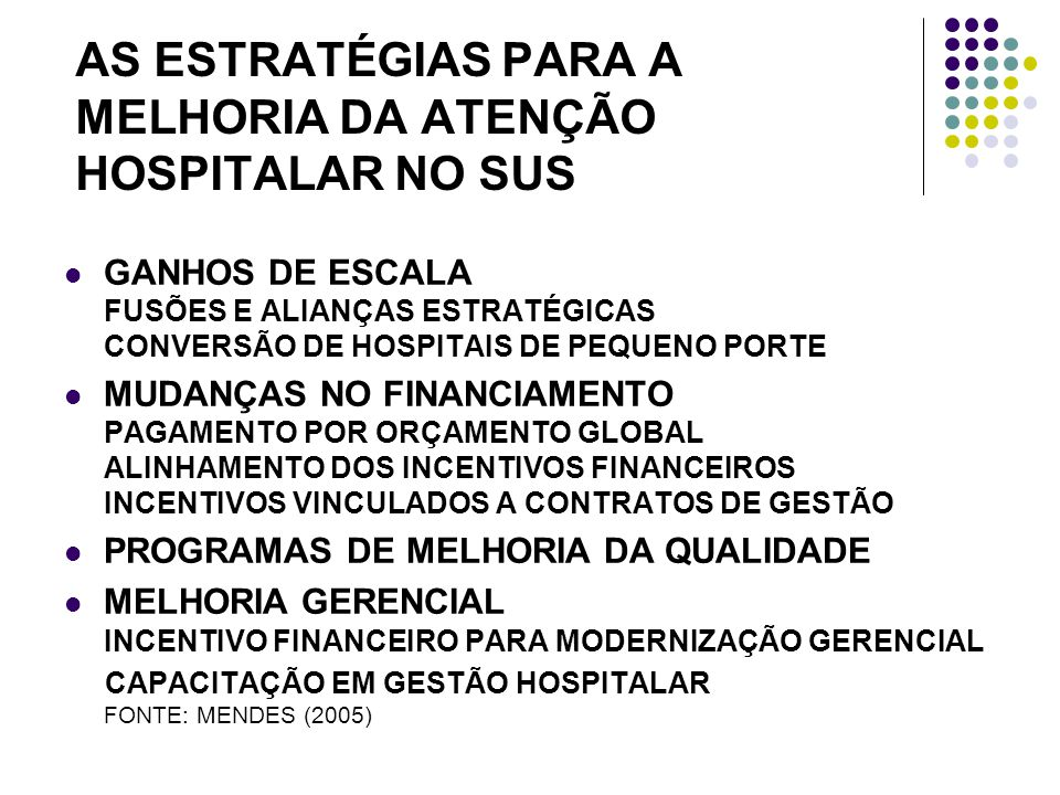 AS ESTRATÉGIAS PARA A MELHORIA DA ATENÇÃO HOSPITALAR NO SUS GANHOS DE ESCALA FUSÕES E ALIANÇAS ESTRATÉGICAS CONVERSÃO DE HOSPITAIS DE PEQUENO PORTE MUDANÇAS NO FINANCIAMENTO PAGAMENTO POR ORÇAMENTO GLOBAL ALINHAMENTO DOS INCENTIVOS FINANCEIROS INCENTIVOS VINCULADOS A CONTRATOS DE GESTÃO PROGRAMAS DE MELHORIA DA QUALIDADE MELHORIA GERENCIAL INCENTIVO FINANCEIRO PARA MODERNIZAÇÃO GERENCIAL CAPACITAÇÃO EM GESTÃO HOSPITALAR FONTE: MENDES (2005)