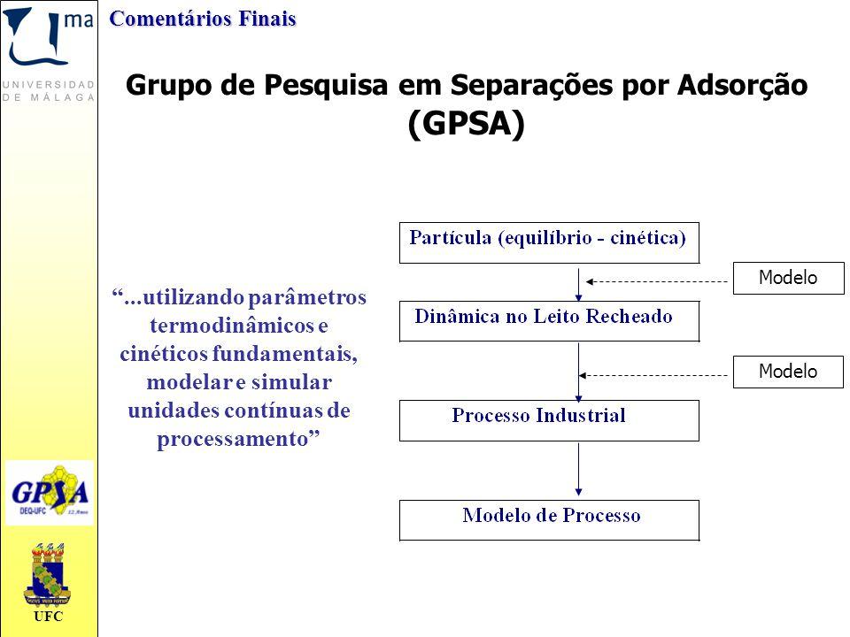 """UFC Grupo de Pesquisa em Separações por Adsorção (GPSA) """"...utilizando parâmetros termodinâmicos e cinéticos fundamentais, modelar e simular unidades"""