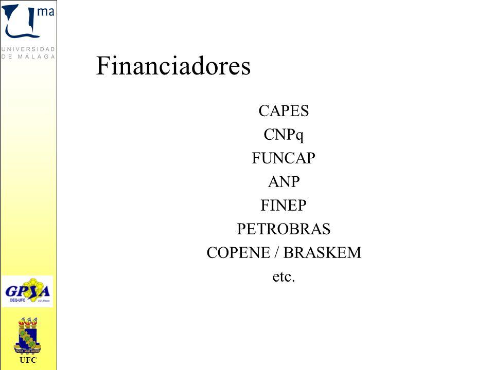 UFC CAPES CNPq FUNCAP ANP FINEP PETROBRAS COPENE / BRASKEM etc. Financiadores