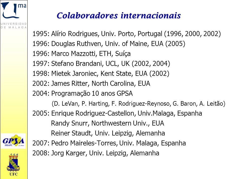 UFC Colaboradores internacionais 1995: Alírio Rodrigues, Univ. Porto, Portugal (1996, 2000, 2002) 1996: Douglas Ruthven, Univ. of Maine, EUA (2005) 19