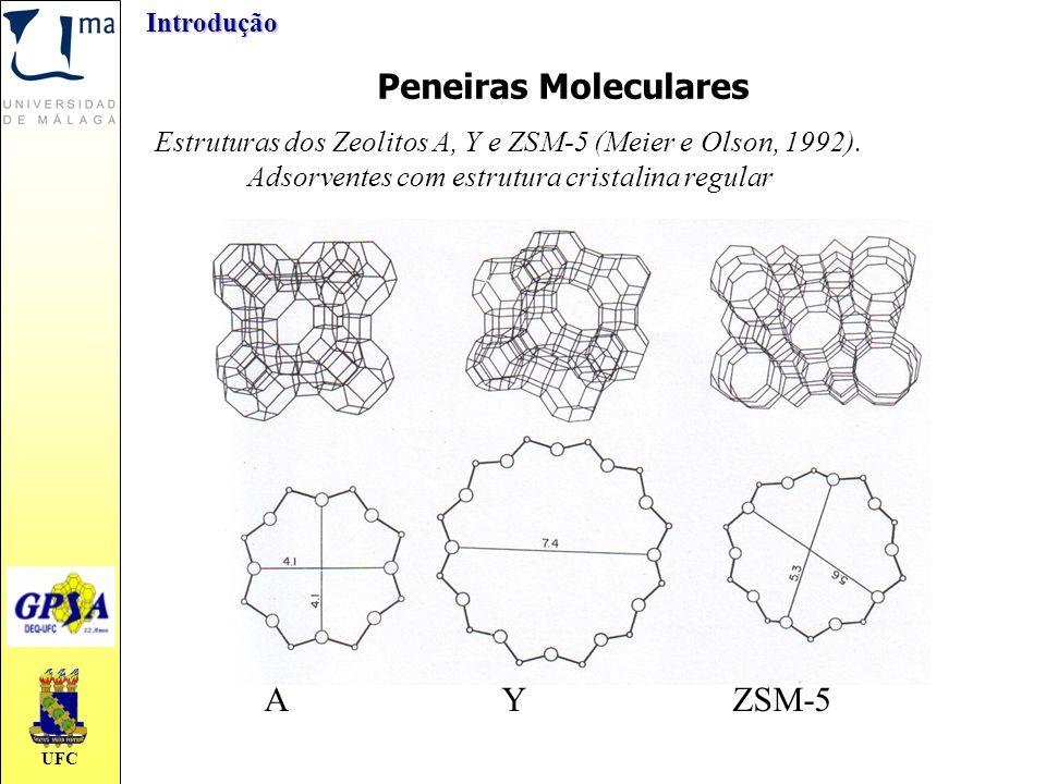 UFCIntrodução Estruturas dos Zeolitos A, Y e ZSM-5 (Meier e Olson, 1992). Adsorventes com estrutura cristalina regular Peneiras Moleculares AYZSM-5