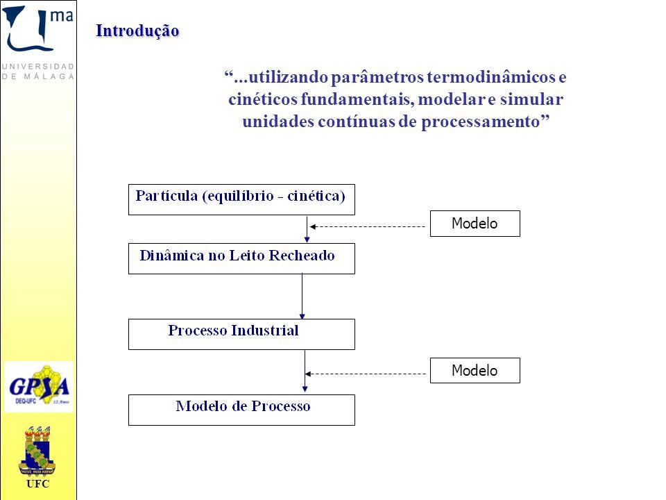 """UFC Introdução """"...utilizando parâmetros termodinâmicos e cinéticos fundamentais, modelar e simular unidades contínuas de processamento"""" Modelo"""