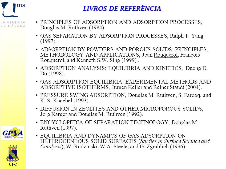 UFC LIVROS DE REFERÊNCIA PRINCIPLES OF ADSORPTION AND ADSORPTION PROCESSES, Douglas M. Ruthven (1984). GAS SEPARATION BY ADSORPTION PROCESSES, Ralph T