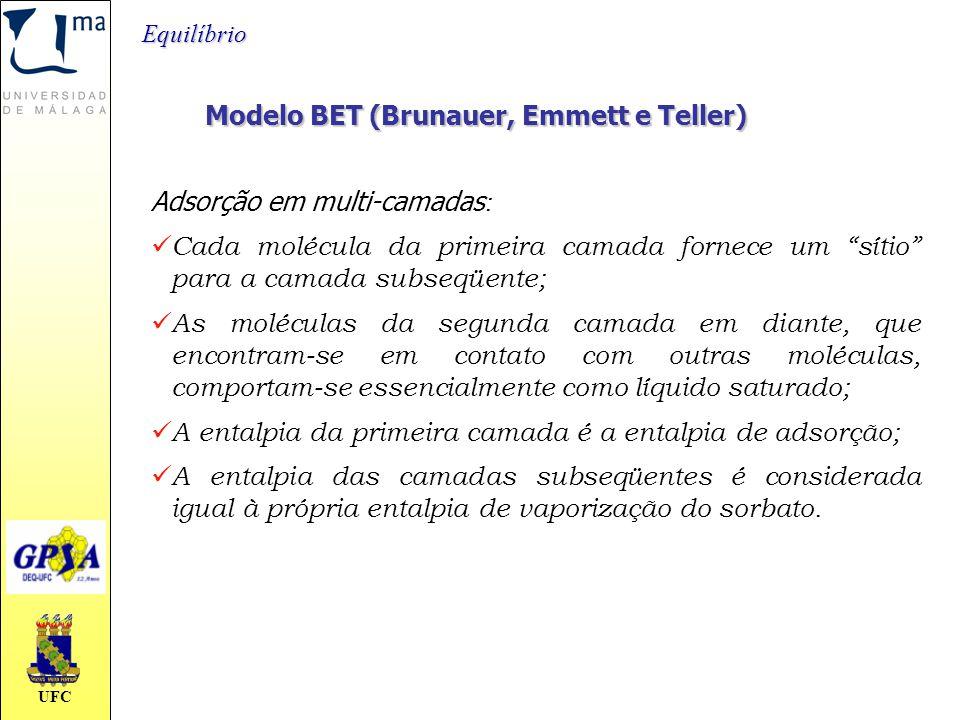 """UFC Modelo BET (Brunauer, Emmett e Teller) Adsorção em multi-camadas : Cada molécula da primeira camada fornece um """"sítio"""" para a camada subseqüente;"""
