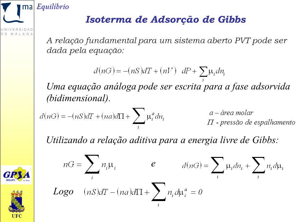 UFC Isoterma de Adsorção de Gibbs Equilíbrio A relação fundamental para um sistema aberto PVT pode ser dada pela equação: Uma equação análoga pode ser