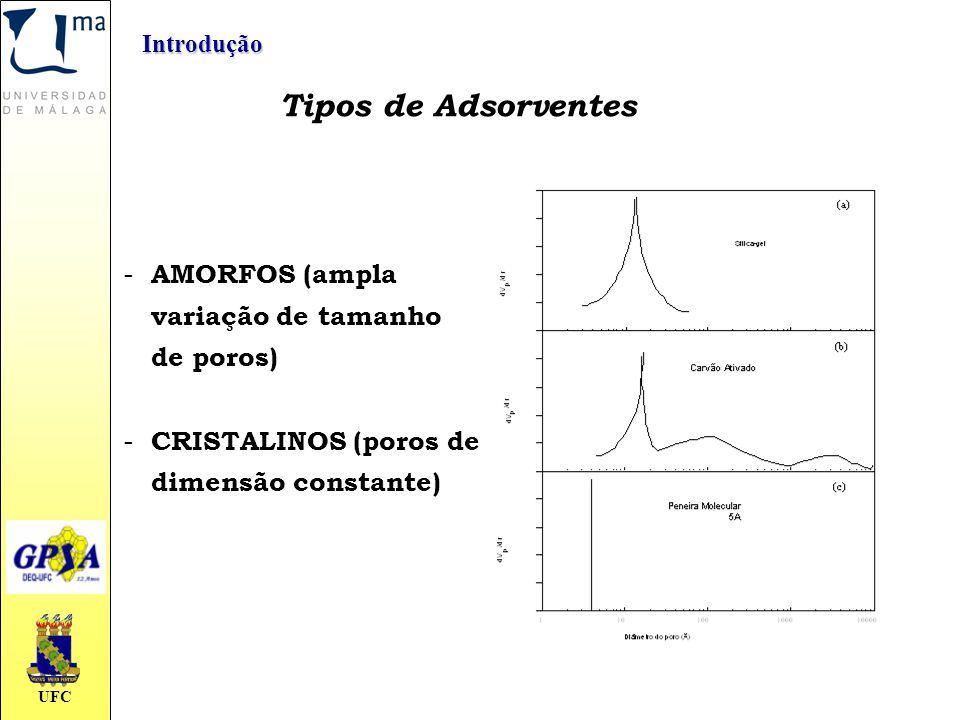 UFC Tipos de Adsorventes - AMORFOS (ampla variação de tamanho de poros) - CRISTALINOS (poros de dimensão constante) Introdução