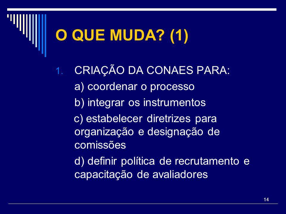 14 O QUE MUDA? (1) 1. CRIAÇÃO DA CONAES PARA: a) coordenar o processo b) integrar os instrumentos c) estabelecer diretrizes para organização e designa