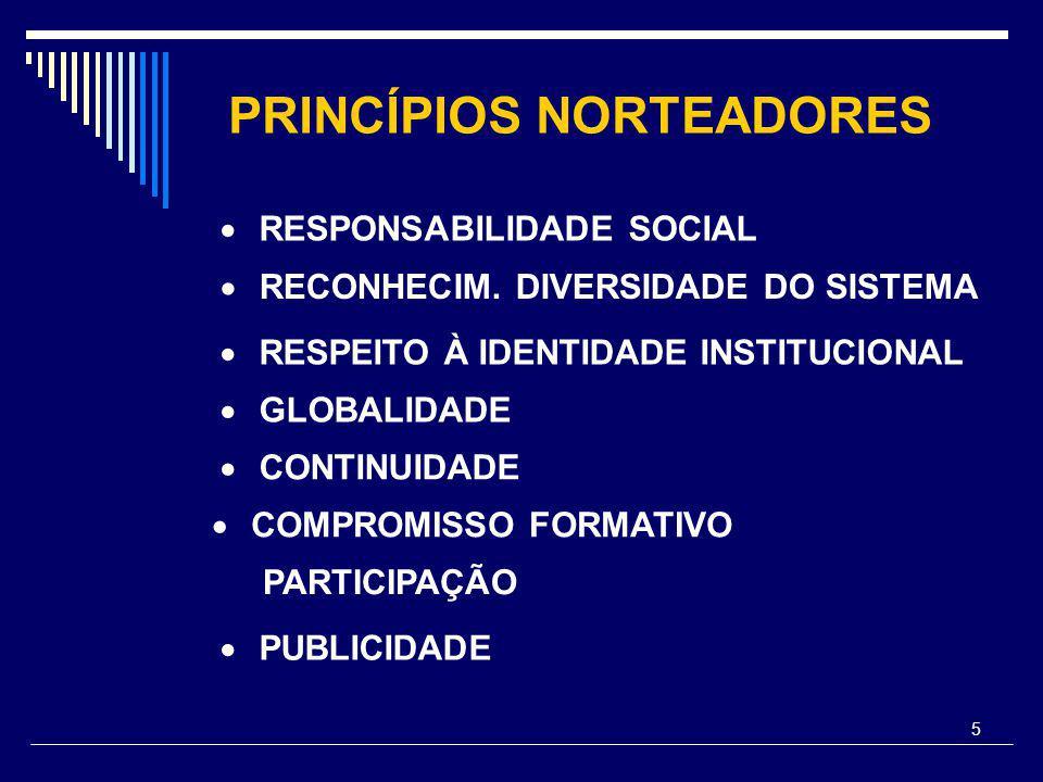 5 PRINCÍPIOS NORTEADORES  RESPONSABILIDADE SOCIAL  RECONHECIM. DIVERSIDADE DO SISTEMA  RESPEITO À IDENTIDADE INSTITUCIONAL  GLOBALIDADE  CONTINUI