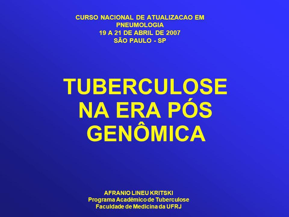 CURSO NACIONAL DE ATUALIZACAO EM PNEUMOLOGIA 19 A 21 DE ABRIL DE 2007 SÃO PAULO - SP TUBERCULOSE NA ERA PÓS GENÔMICA AFRANIO LINEU KRITSKI Programa Acadêmico de Tuberculose Faculdade de Medicina da UFRJ