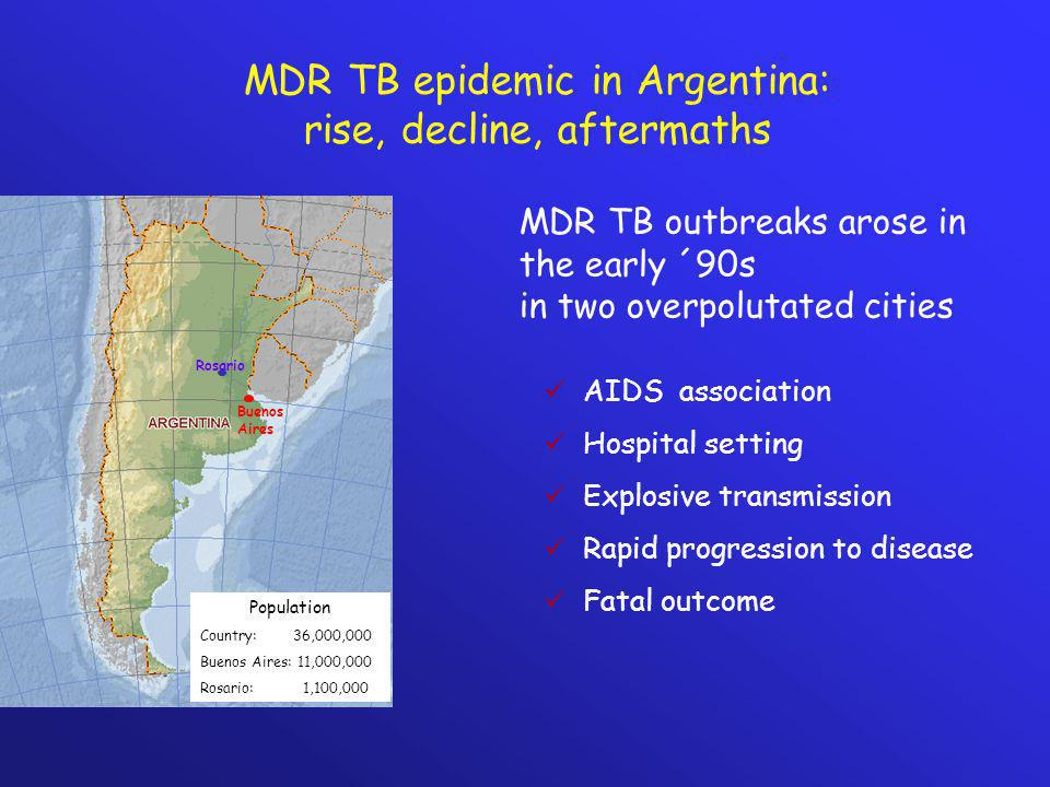 MDR TB epidemic in Argentina: rise, decline, aftermaths Buenos Aires Rosario Population Country: 36,000,000 Buenos Aires: 11,000,000 Rosario: 1,100,00
