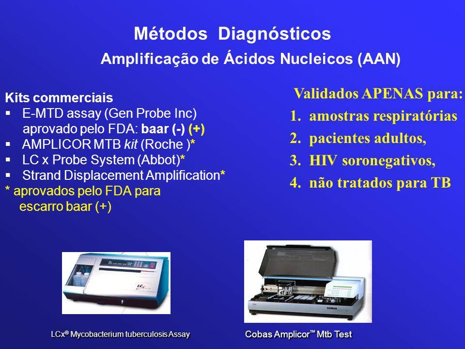 Métodos Diagnósticos Amplificação de Ácidos Nucleicos (AAN) Kits commerciais  E-MTD assay (Gen Probe Inc) aprovado pelo FDA: baar (-) (+)  AMPLICOR MTB kit (Roche )*  LC x Probe System (Abbot)*  Strand Displacement Amplification* * aprovados pelo FDA para escarro baar (+) LCx ® Mycobacterium tuberculosis Assay Cobas Amplicor ™ Mtb Test Validados APENAS para: 1.