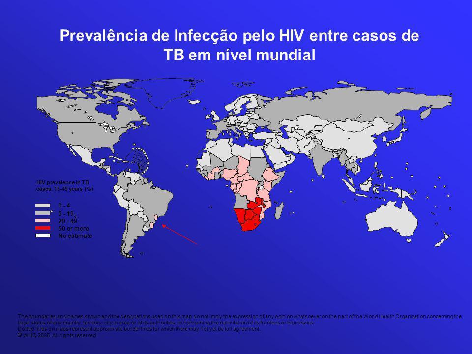 Prevalência de Infecção pelo HIV entre casos de TB em nível mundial The boundaries and names shown and the designations used on this map do not imply