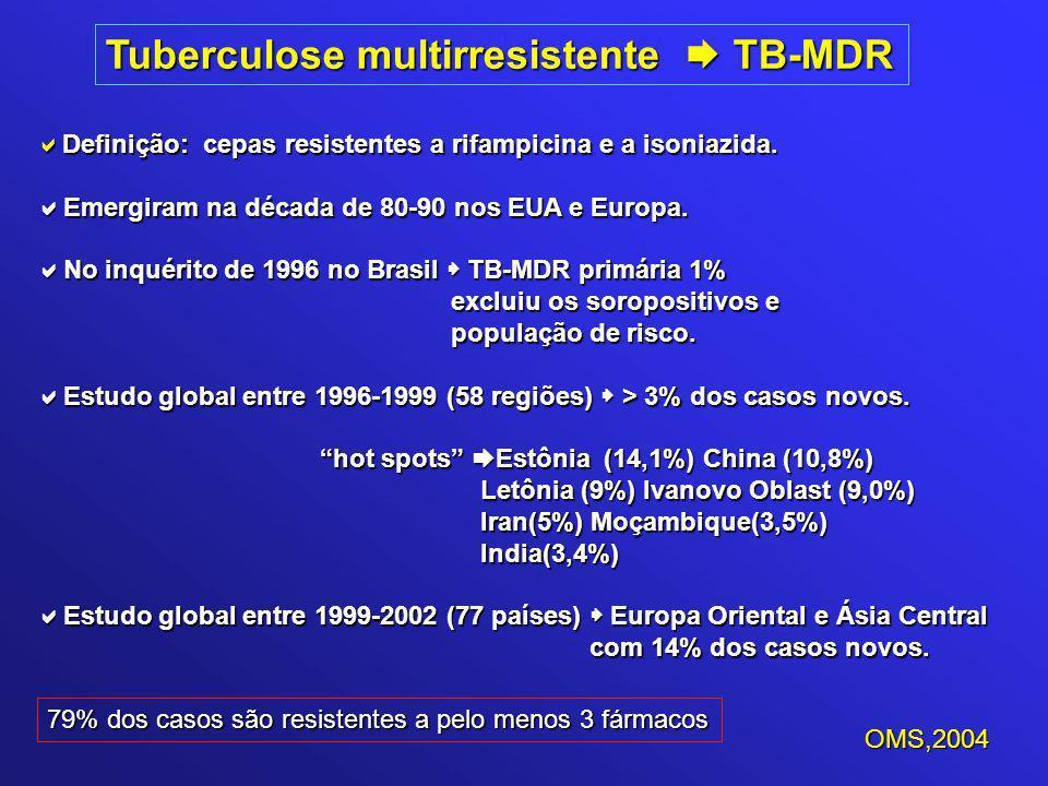 Tuberculose multirresistente  TB-MDR  Definição: cepas resistentes a rifampicina e a isoniazida.  Emergiram na década de 80-90 nos EUA e Europa. 