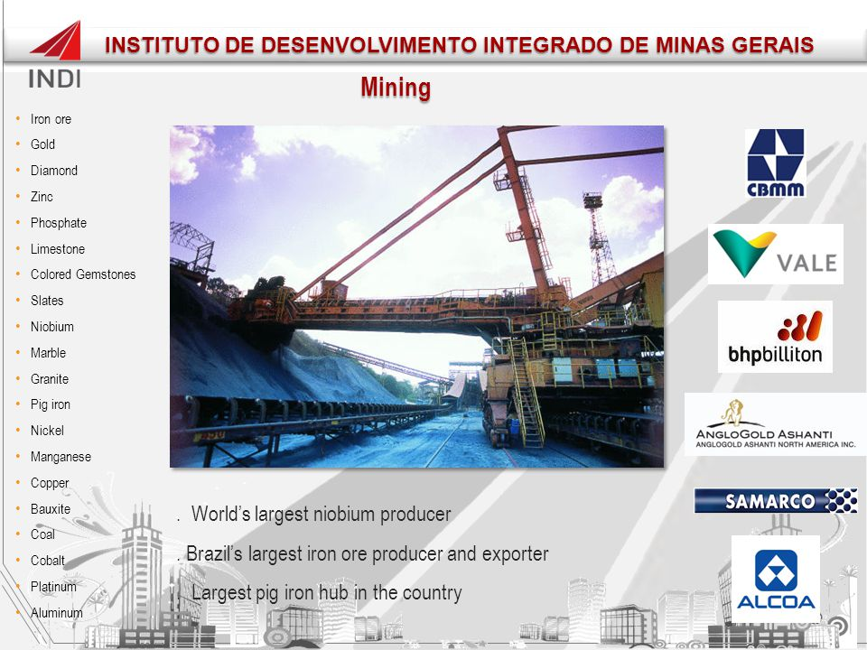 Mining. World's largest niobium producer. Brazil's largest iron ore producer and exporter. Largest pig iron hub in the country Iron ore Gold Diamond Z
