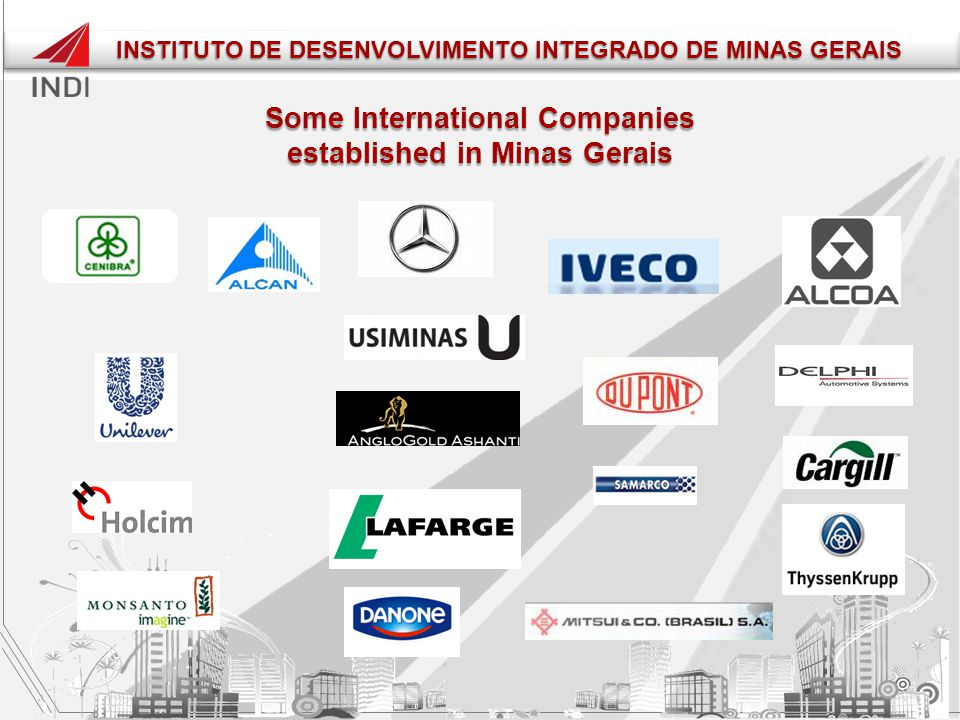 Some International Companies established in Minas Gerais INSTITUTO DE DESENVOLVIMENTO INTEGRADO DE MINAS GERAIS INSTITUTO DE DESENVOLVIMENTO INTEGRADO