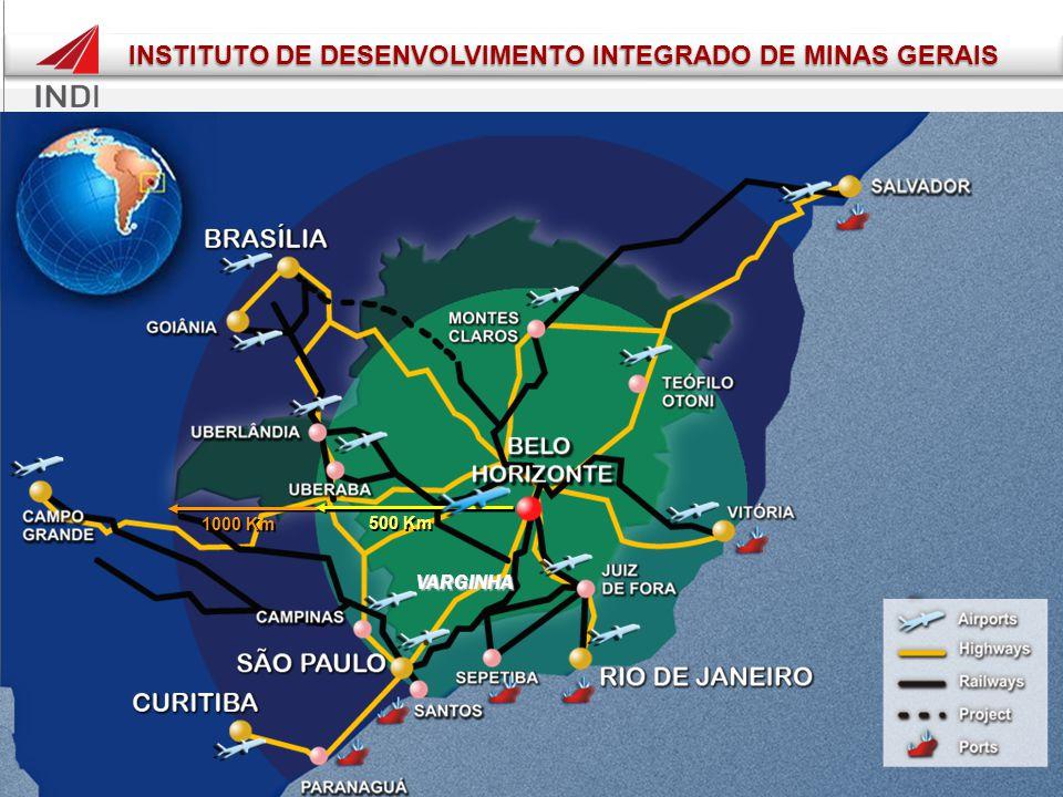 1000 Km 500 Km VARGINHA INSTITUTO DE DESENVOLVIMENTO INTEGRADO DE MINAS GERAIS INSTITUTO DE DESENVOLVIMENTO INTEGRADO DE MINAS GERAIS