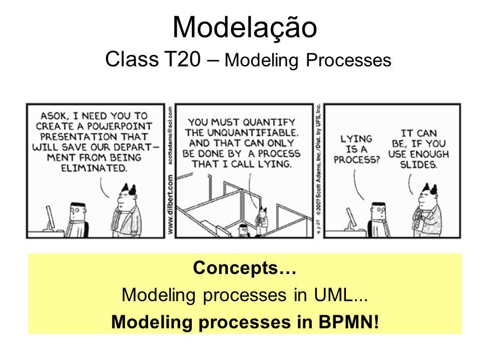 Modelação Class T20 – Modeling Processes Concepts… Modeling processes in UML... Modeling processes in BPMN!