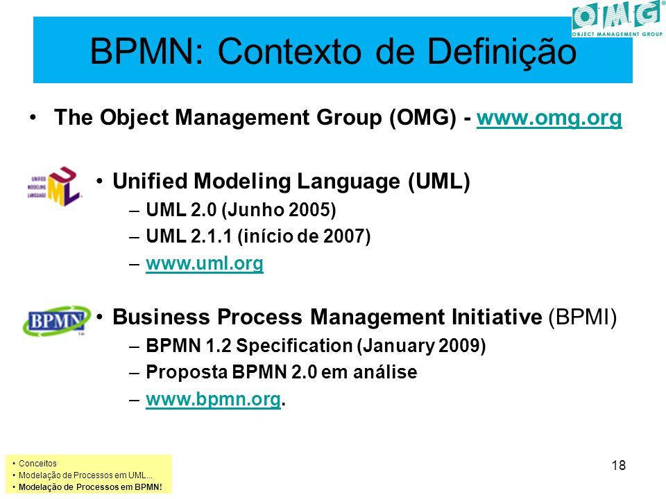 BPMN: Contexto de Definição The Object Management Group (OMG) - www.omg.orgwww.omg.org Unified Modeling Language (UML) –UML 2.0 (Junho 2005) –UML 2.1.1 (início de 2007) –www.uml.orgwww.uml.org Business Process Management Initiative (BPMI) –BPMN 1.2 Specification (January 2009) –Proposta BPMN 2.0 em análise –www.bpmn.org.www.bpmn.org Conceitos Modelação de Processos em UML...
