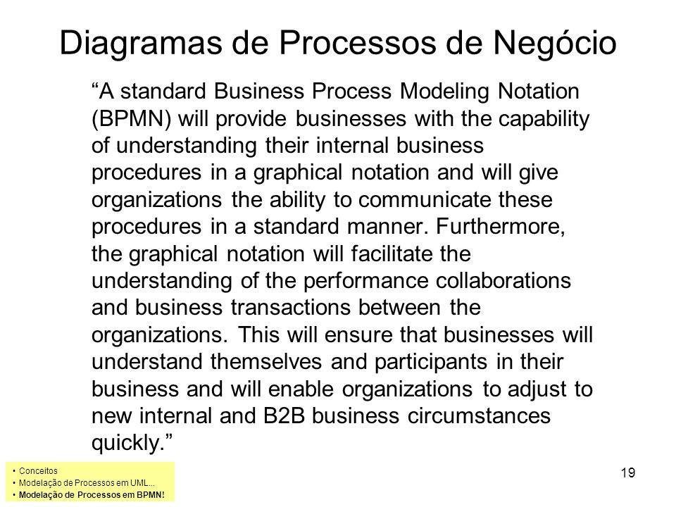 Diagramas de Processos de Negócio A standard Business Process Modeling Notation (BPMN) will provide businesses with the capability of understanding their internal business procedures in a graphical notation and will give organizations the ability to communicate these procedures in a standard manner.