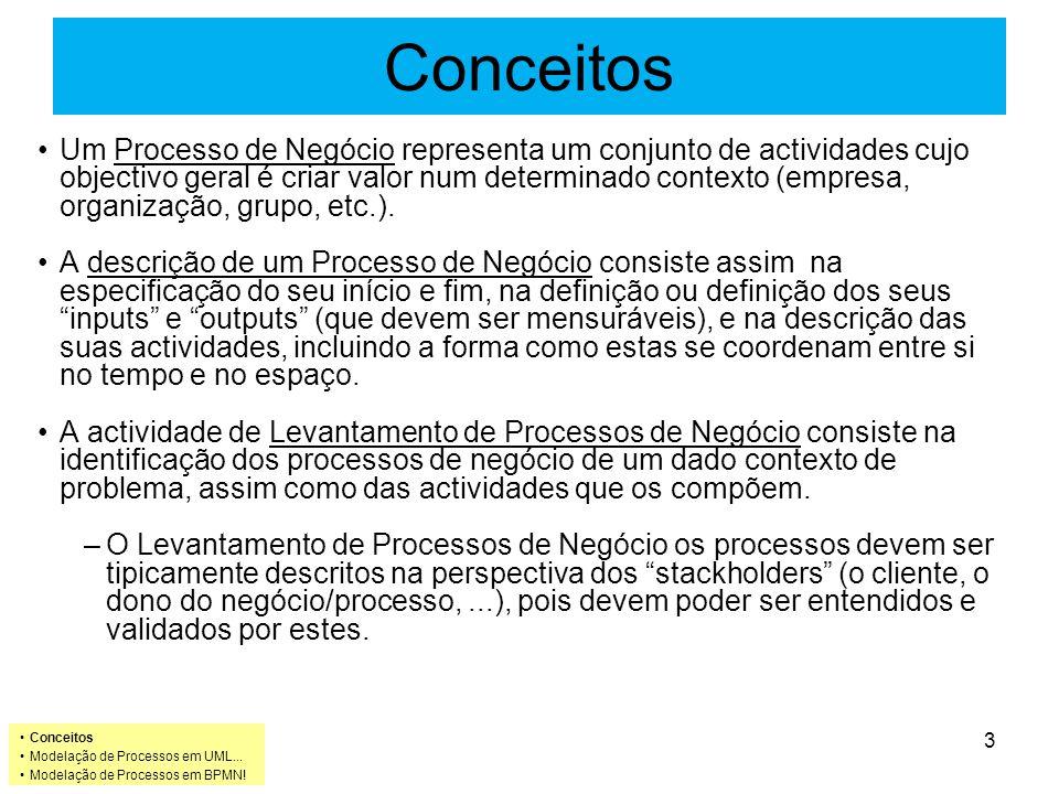 Conceitos Um Processo de Negócio representa um conjunto de actividades cujo objectivo geral é criar valor num determinado contexto (empresa, organização, grupo, etc.).