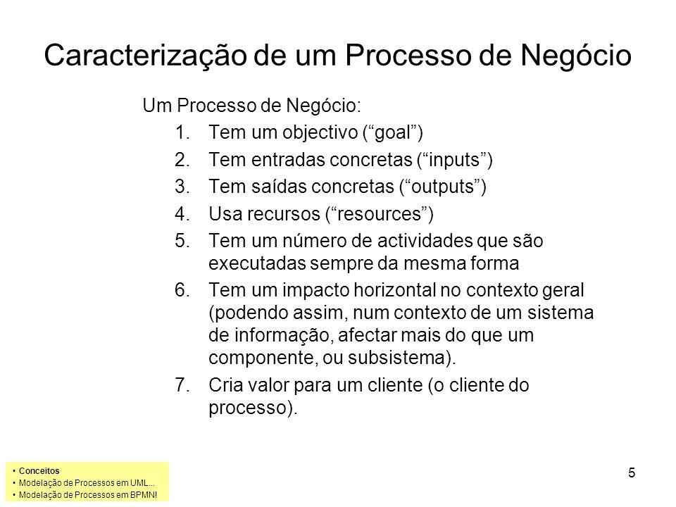 Caracterização de um Processo de Negócio Um Processo de Negócio: 1.Tem um objectivo ( goal ) 2.Tem entradas concretas ( inputs ) 3.Tem saídas concretas ( outputs ) 4.Usa recursos ( resources ) 5.Tem um número de actividades que são executadas sempre da mesma forma 6.Tem um impacto horizontal no contexto geral (podendo assim, num contexto de um sistema de informação, afectar mais do que um componente, ou subsistema).