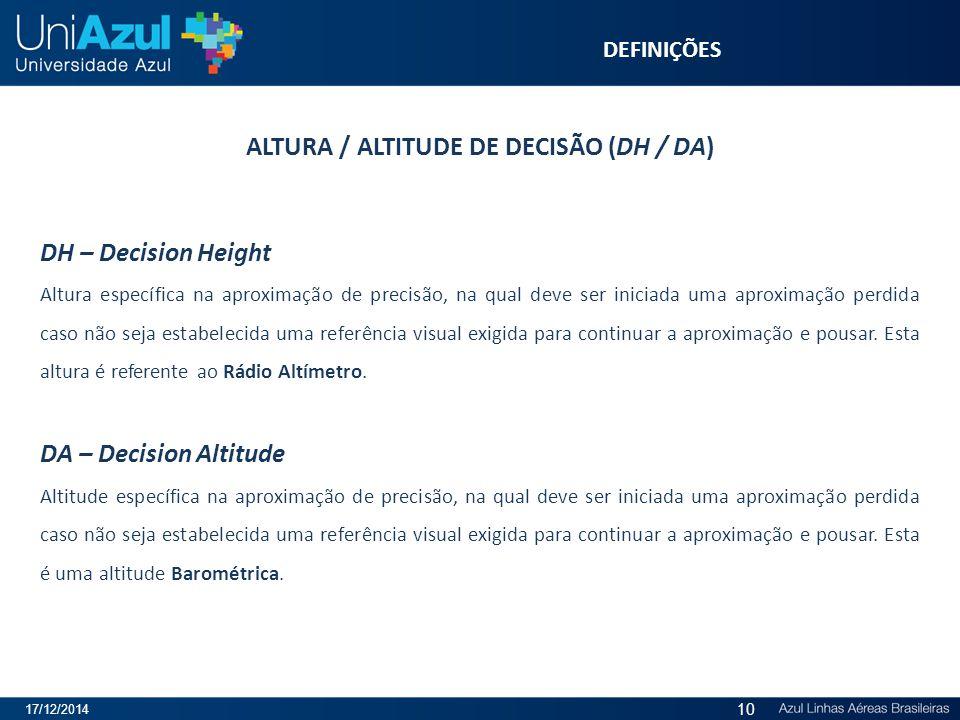 ALTURA / ALTITUDE DE DECISÃO (DH / DA) DH – Decision Height Altura específica na aproximação de precisão, na qual deve ser iniciada uma aproximação pe