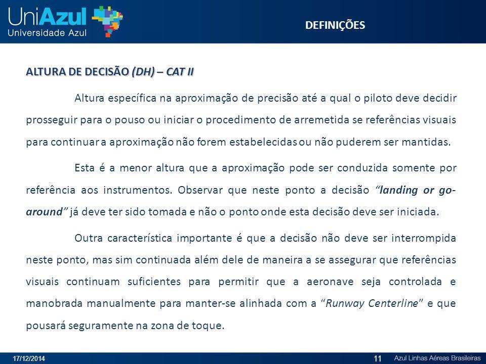 ALTURA DE DECISÃO (DH) – CAT II Altura específica na aproximação de precisão até a qual o piloto deve decidir prosseguir para o pouso ou iniciar o pro