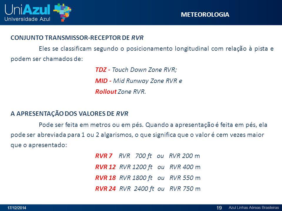 CONJUNTO TRANSMISSOR-RECEPTOR DE RVR Eles se classificam segundo o posicionamento longitudinal com relação à pista e podem ser chamados de: TDZ - Touc