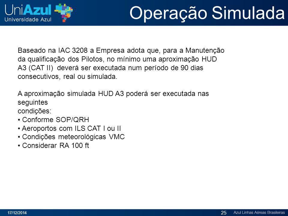 Operação Simulada 17/12/2014 25 Baseado na IAC 3208 a Empresa adota que, para a Manutenção da qualificação dos Pilotos, no mínimo uma aproximação HUD