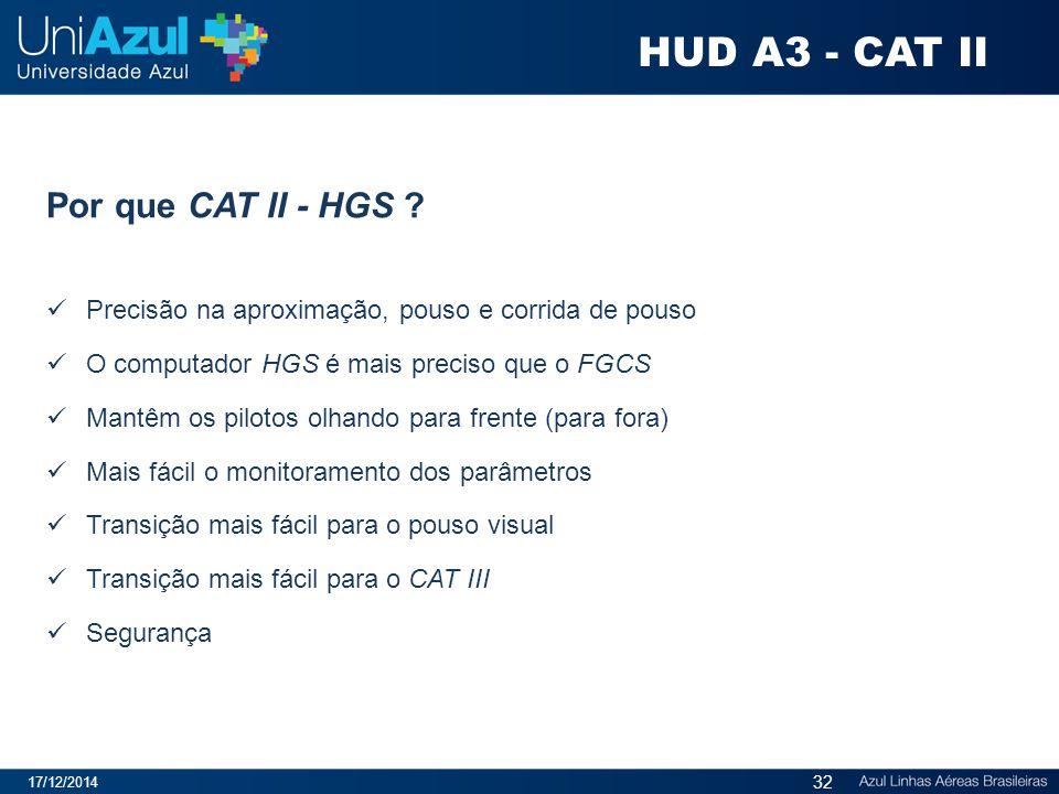 Por que CAT II - HGS ? Precisão na aproximação, pouso e corrida de pouso O computador HGS é mais preciso que o FGCS Mantêm os pilotos olhando para fre