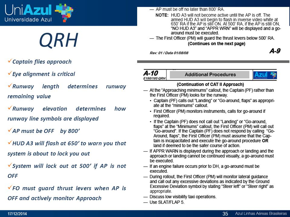 QRH Captain flies approach Eye alignment is critical Runway length determines runway remaining value Runway elevation determines how runway line symbo