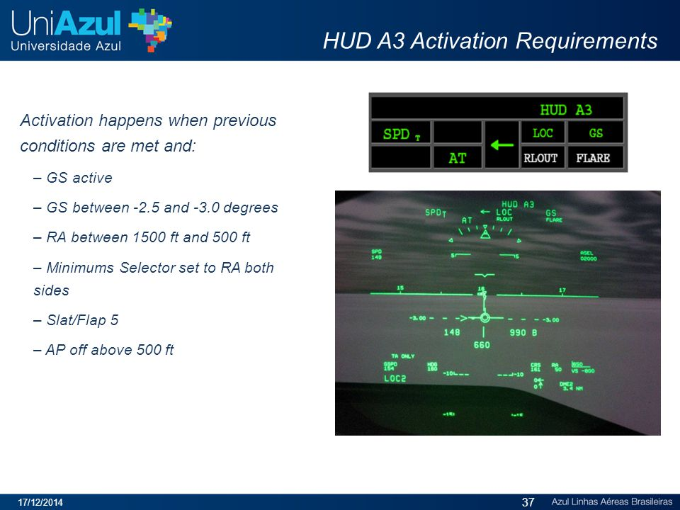HUD A3 Activation Requirements Activation happens when previous conditions are met and: – GS active – GS between -2.5 and -3.0 degrees – RA between 1500 ft and 500 ft – Minimums Selector set to RA both sides – Slat/Flap 5 – AP off above 500 ft 17/12/2014 37