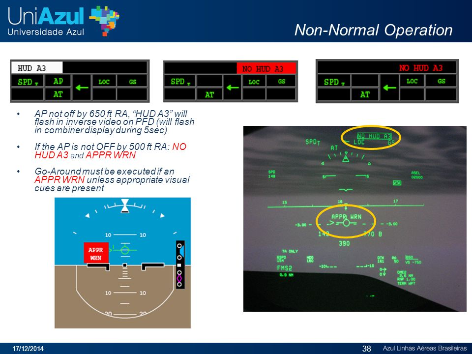 Non-Normal Operation AP not off by 650 ft RA, HUD A3 will flash in inverse video on PFD (will flash in combiner display during 5sec) If the AP is not OFF by 500 ft RA: NO HUD A3 and APPR WRN Go-Around must be executed if an APPR WRN unless appropriate visual cues are present 17/12/2014 38