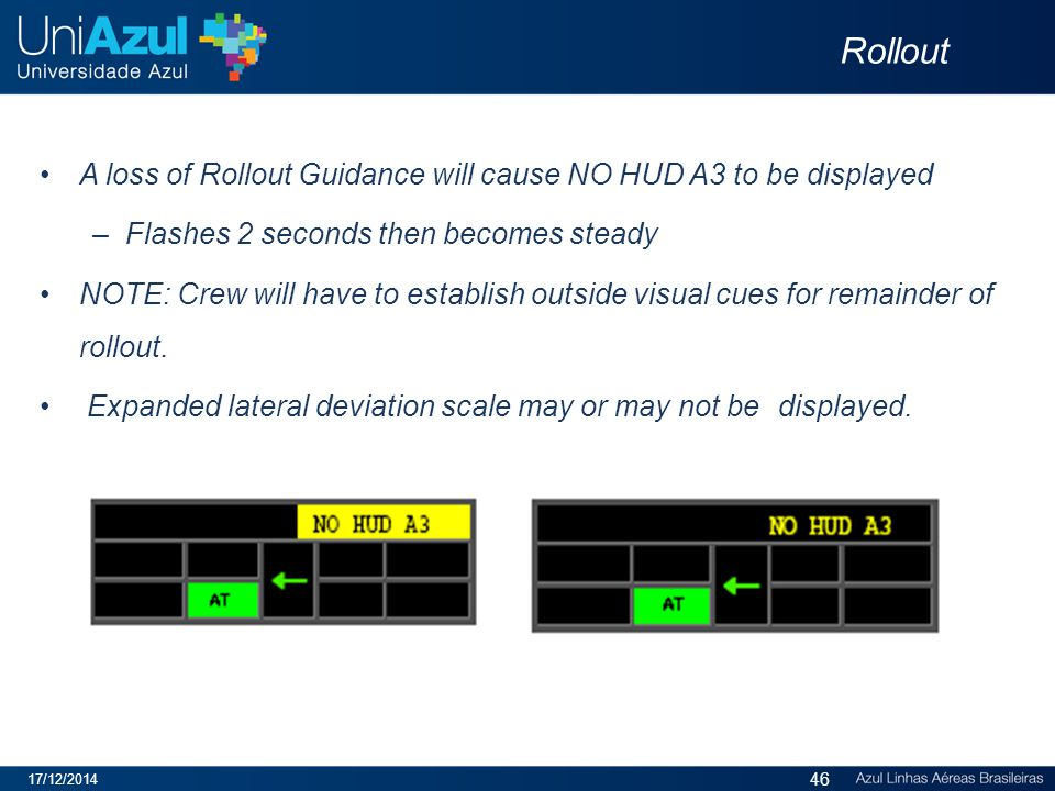 Rollout A loss of Rollout Guidance will cause NO HUD A3 to be displayed – Flashes 2 seconds then becomes steady NOTE: Crew will have to establish outside visual cues for remainder of rollout.
