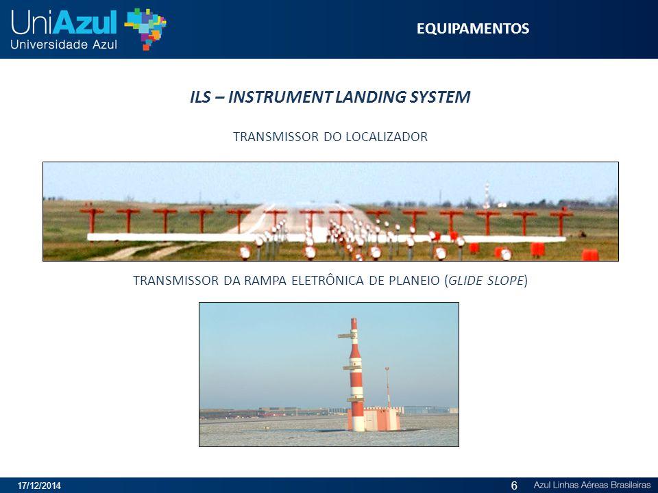 ILS – INSTRUMENT LANDING SYSTEM TRANSMISSOR DO LOCALIZADOR TRANSMISSOR DA RAMPA ELETRÔNICA DE PLANEIO (GLIDE SLOPE) EQUIPAMENTOS 17/12/2014 6
