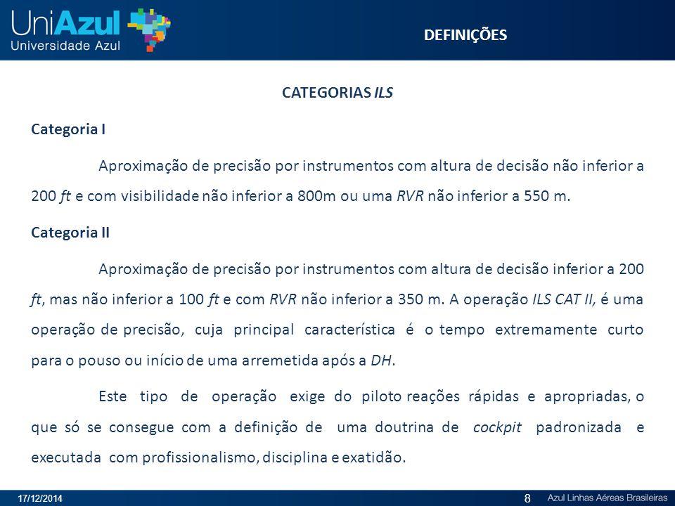 DEFINIÇÕES CATEGORIAS ILS Categoria I Aproximação de precisão por instrumentos com altura de decisão não inferior a 200 ft e com visibilidade não infe