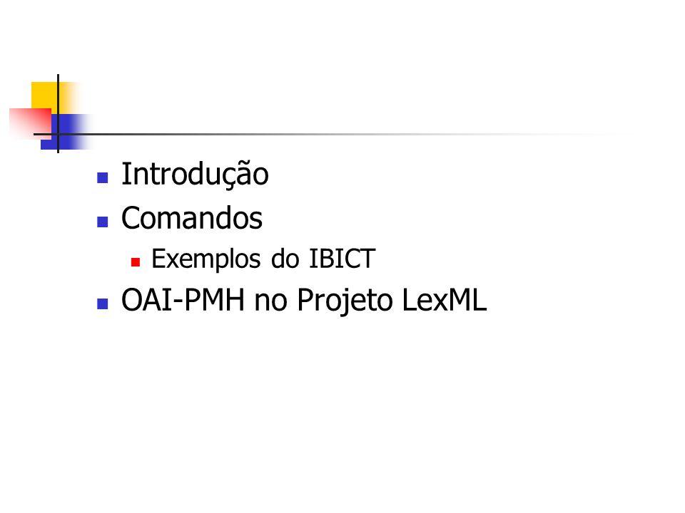 OAI-PMH Open Archives Initiative Protocol for Metadata Harvesting XML e HTTP Versão 2.0 http://www.openarchives.org/OAI/openarc hivesprotocol.html Criado em Janeiro/2001 Expor metadados descritivos