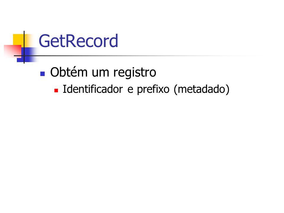 GetRecord Obtém um registro Identificador e prefixo (metadado)