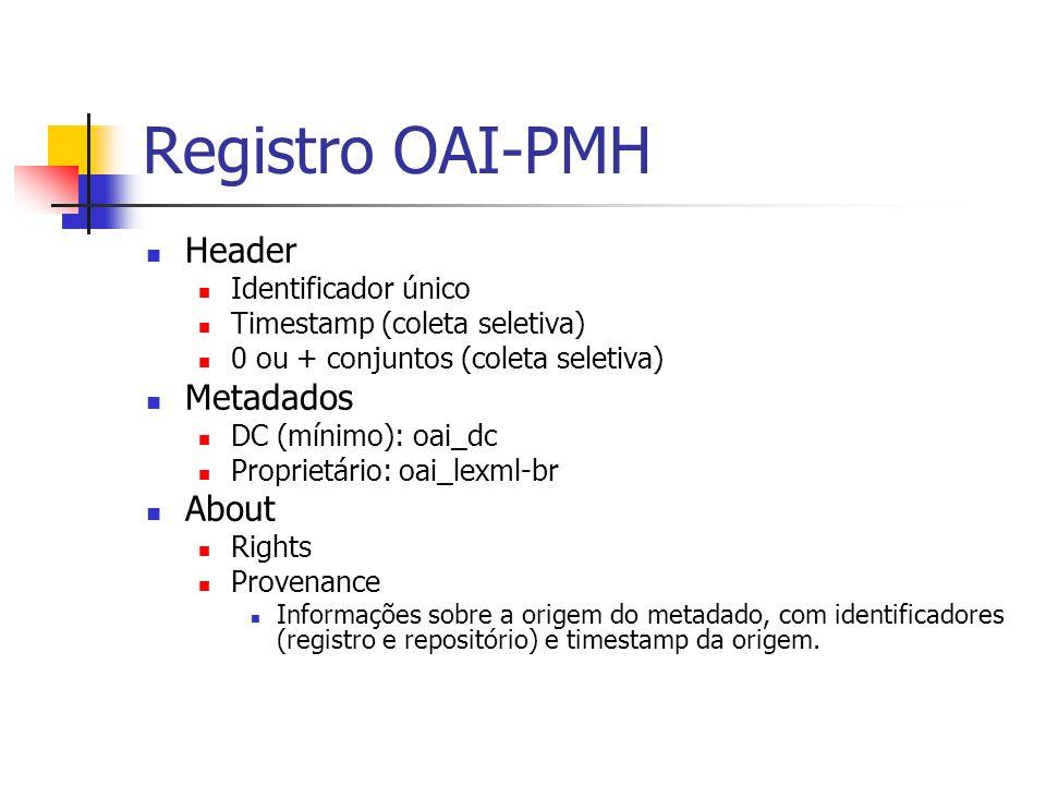 Registro OAI-PMH Header Identificador único Timestamp (coleta seletiva) 0 ou + conjuntos (coleta seletiva) Metadados DC (mínimo): oai_dc Proprietário: oai_lexml-br About Rights Provenance Informações sobre a origem do metadado, com identificadores (registro e repositório) e timestamp da origem.