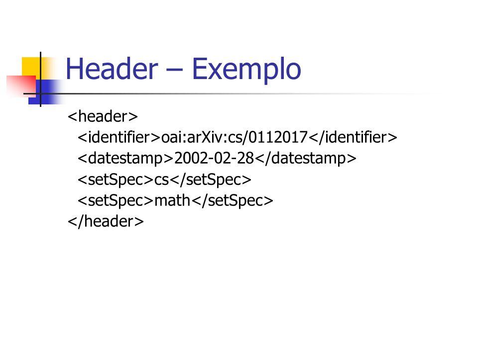 Header – Exemplo oai:arXiv:cs/0112017 2002-02-28 cs math