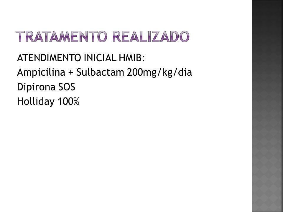 ATENDIMENTO INICIAL HMIB: Ampicilina + Sulbactam 200mg/kg/dia Dipirona SOS Holliday 100%