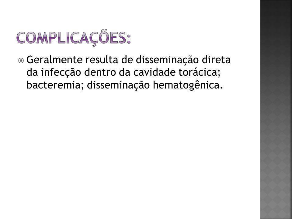  Geralmente resulta de disseminação direta da infecção dentro da cavidade torácica; bacteremia; disseminação hematogênica.
