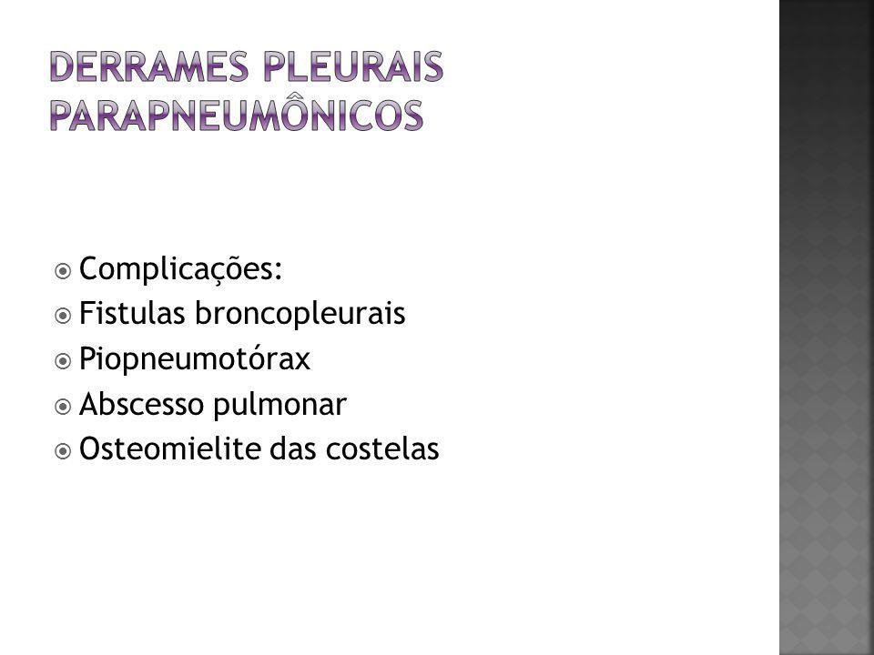  Toracocentese  Terapia antibiótica  Drenagem com tubo de toracostomia  Terapia fibrinolítica (uroquinase; estreptoquinase; alteplase)  Cirurgia torácica videoassistida (CTVA)  Mini-toracotomia  Decorticação aberta