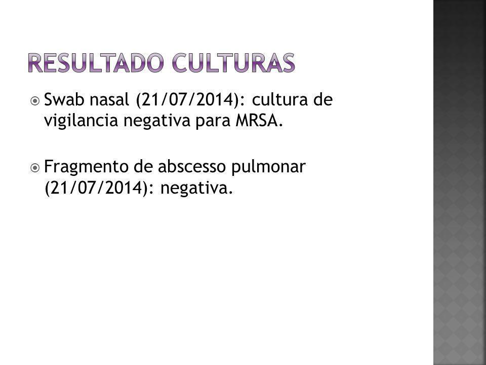  Swab nasal (21/07/2014): cultura de vigilancia negativa para MRSA.  Fragmento de abscesso pulmonar (21/07/2014): negativa.