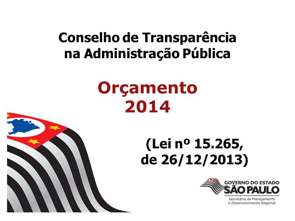 Conselho de Transparência na Administração Pública Orçamento 2014 (Lei nº 15.265, de 26/12/2013)