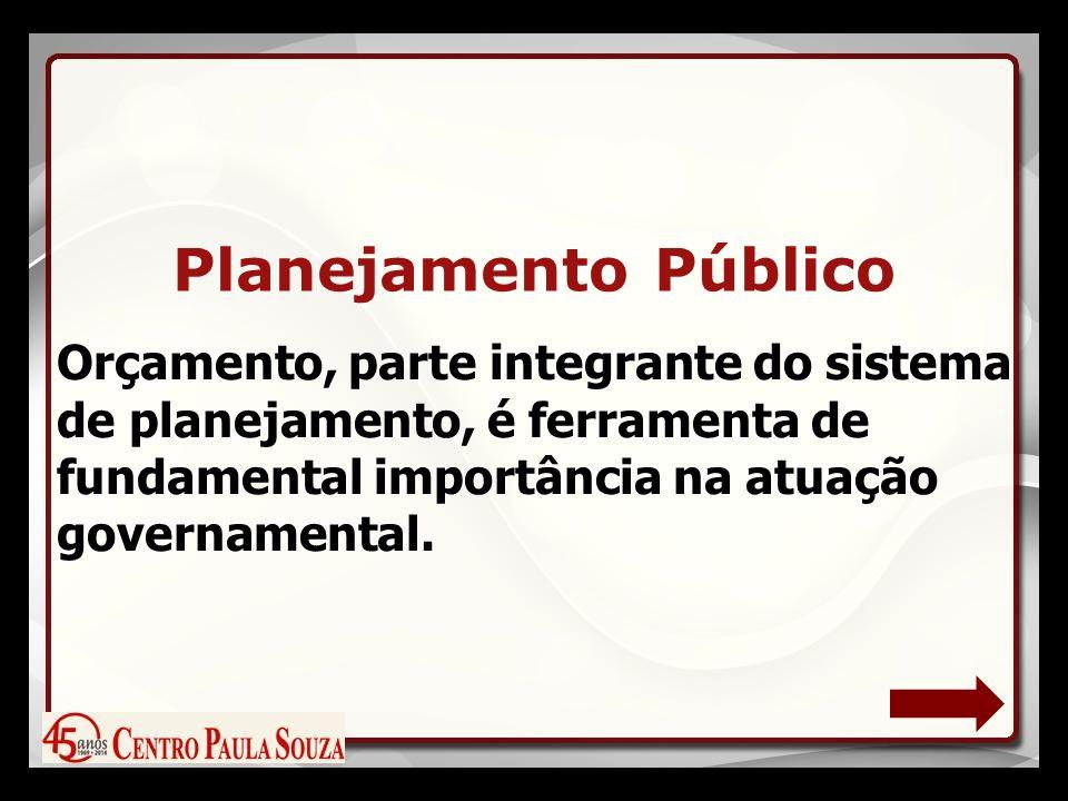 Orçamento, parte integrante do sistema de planejamento, é ferramenta de fundamental importância na atuação governamental.
